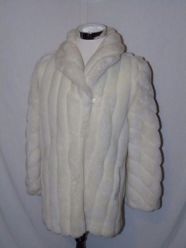 b543d040ea249 Vintage Monterey Fashions Snow White Faux Fur Coat Small Jacket ...