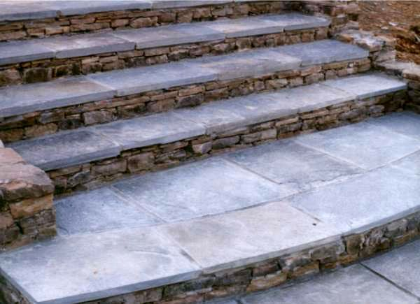Flagstone Stairs Faced With Dry Stack Stone