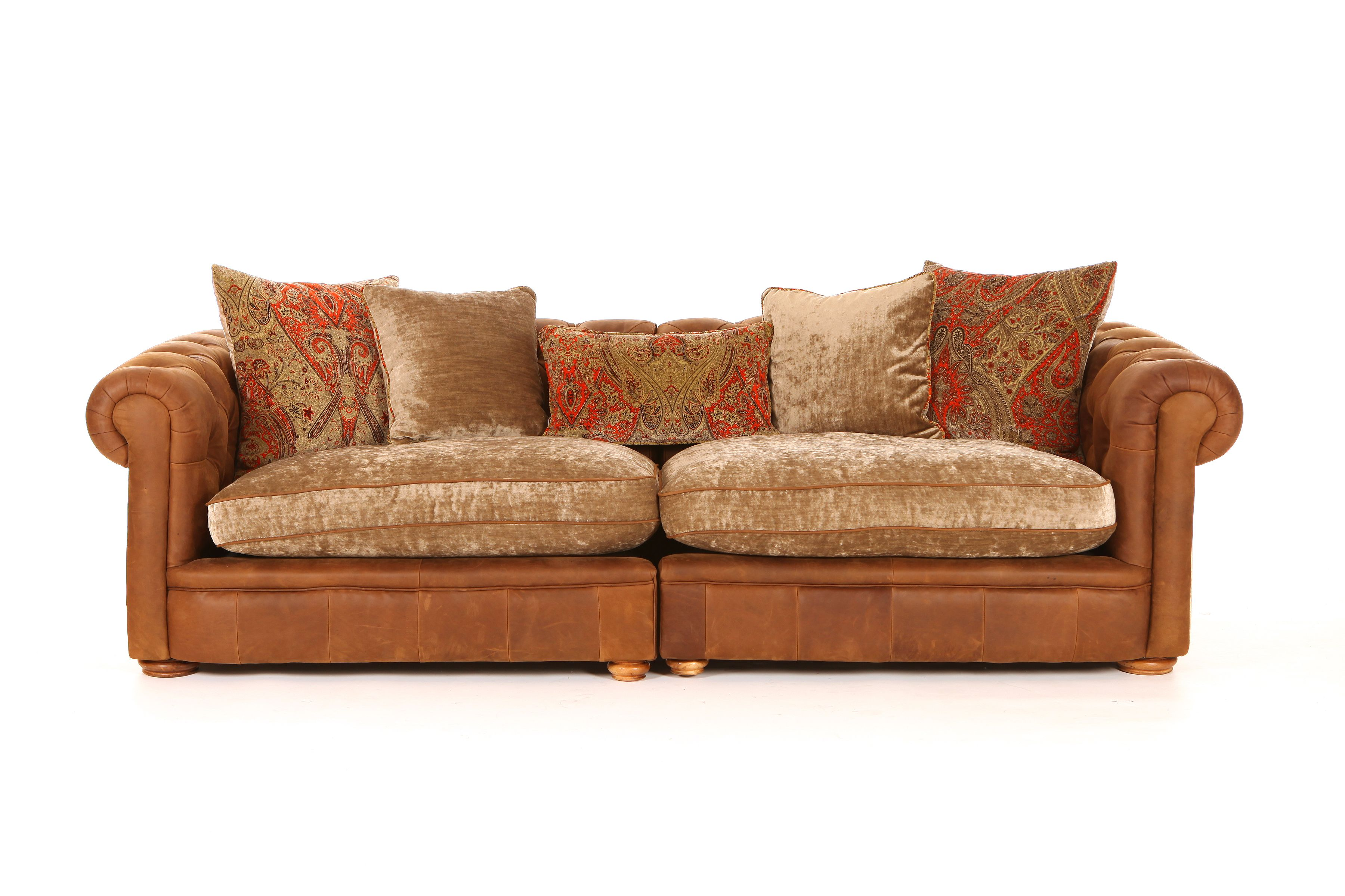 Leather Sofas And Chairs Franklin Maxi Split Sofa With Fabric Seat