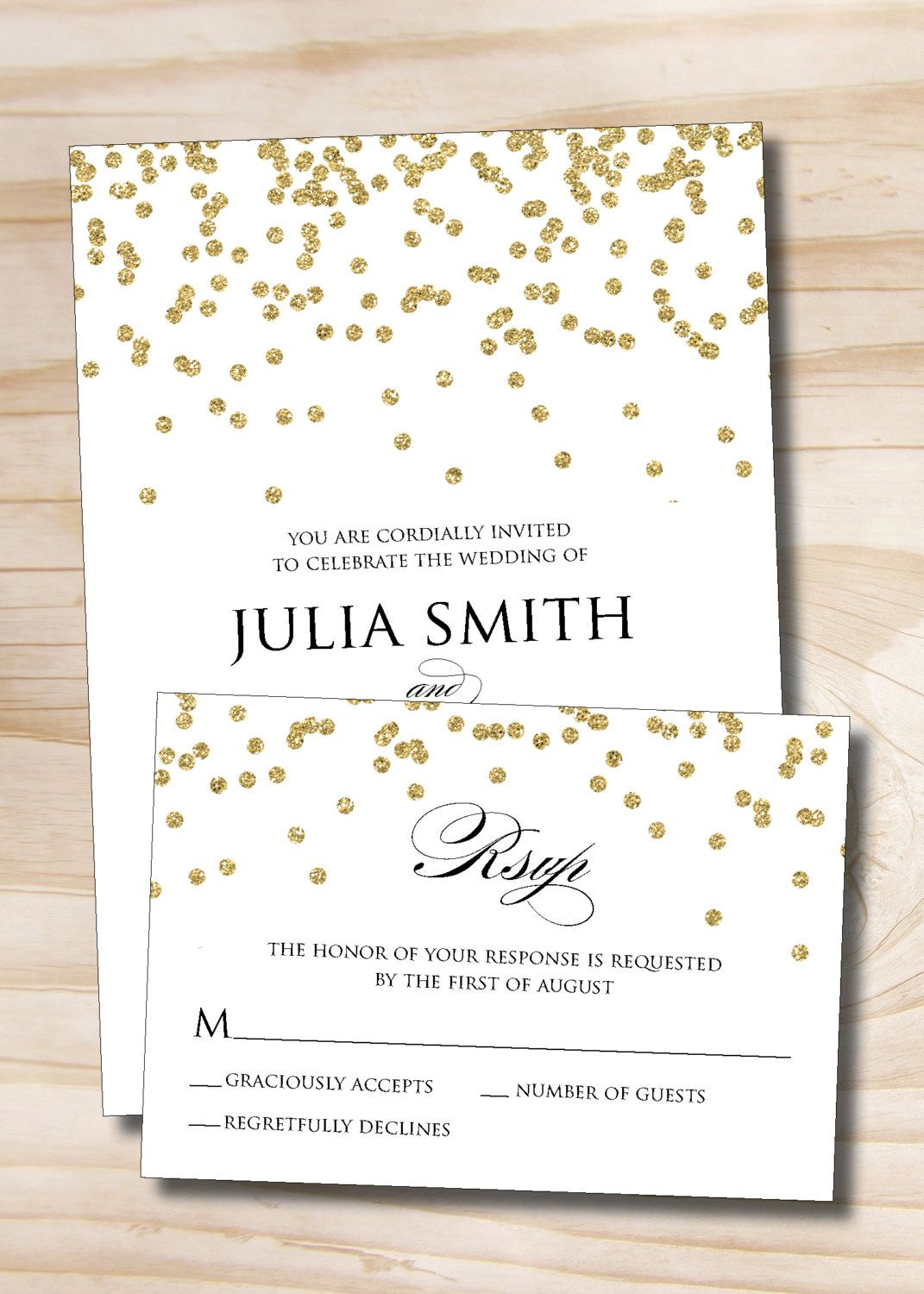 Gold Glitter Confetti Wedding Invitation Response Card Invitation ...