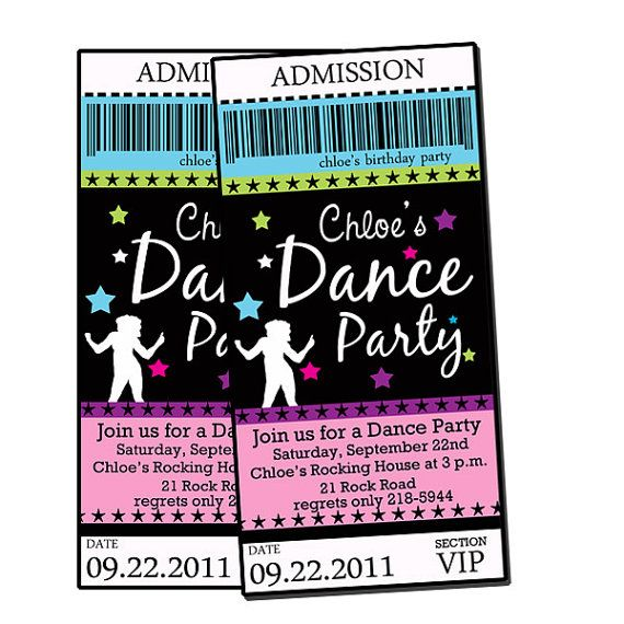dance party invites Movie Night Pinterest Dancing Birthdays