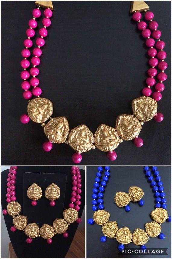 Goddess Lakshmi Choker Necklace Terracotta Necklace Temple Handmade Jewelery Beaded Jewelry Designs Handmade Fashion Jewelry