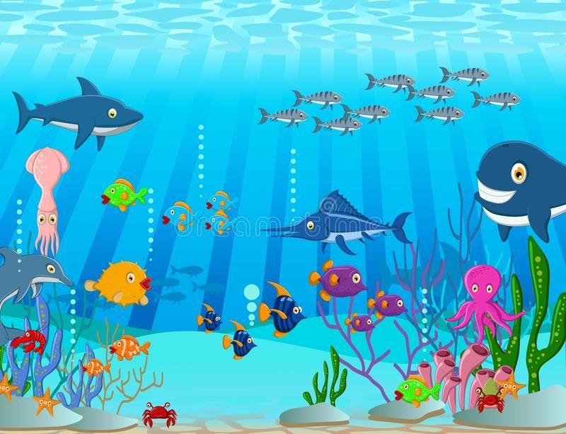 Sea Life Cartoon Background Illustration Of Sea Life Cartoon Background Sponsored Ad Paid Cartoon Background Cartoon Sea Animals Watercolor Lettering