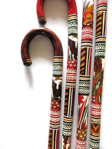 Walking Cane Decorations Hand Carved Wooden Cane Walking Stick Mexican Aztec Hand Painted