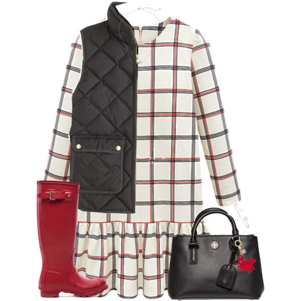 A fashion look from November 2015 featuring J.Crew vests, Hunter boots and Tory Burch tote bags. Browse and shop related looks.