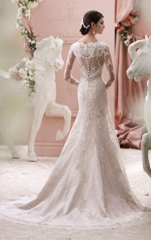 Sheer top wedding dress  David Tutera  Dress  MissesDressy  Wedding ideas