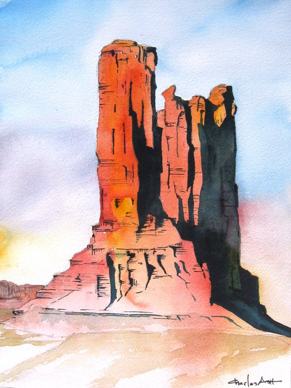 Monument Valley Butte Original Watercolor Painting Etsy In 2020 Watercolor Landscape Paintings Landscape Paintings Watercolor Art Paintings