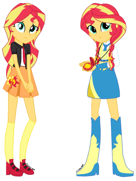#1193697 - alternate universe, artist:psshdjndofnsjdkan, clothes, equestria girls, safe, school uniform, sunset shimmer - Derpibooru - My…