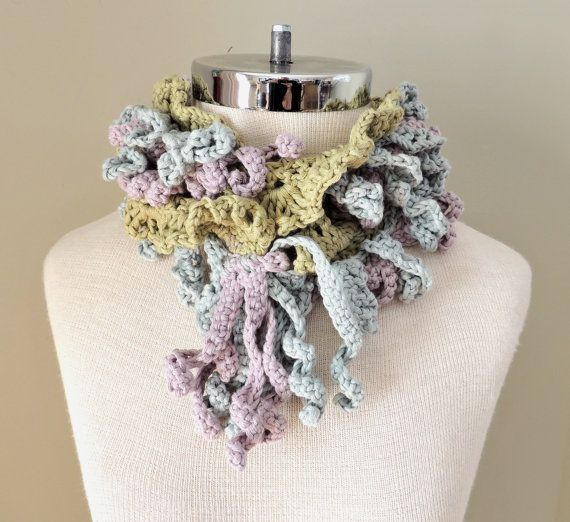 Laureen Scarf Pastel Organic Cotton  SHIPPING by IntricateKnits, Valerie Baber Designs