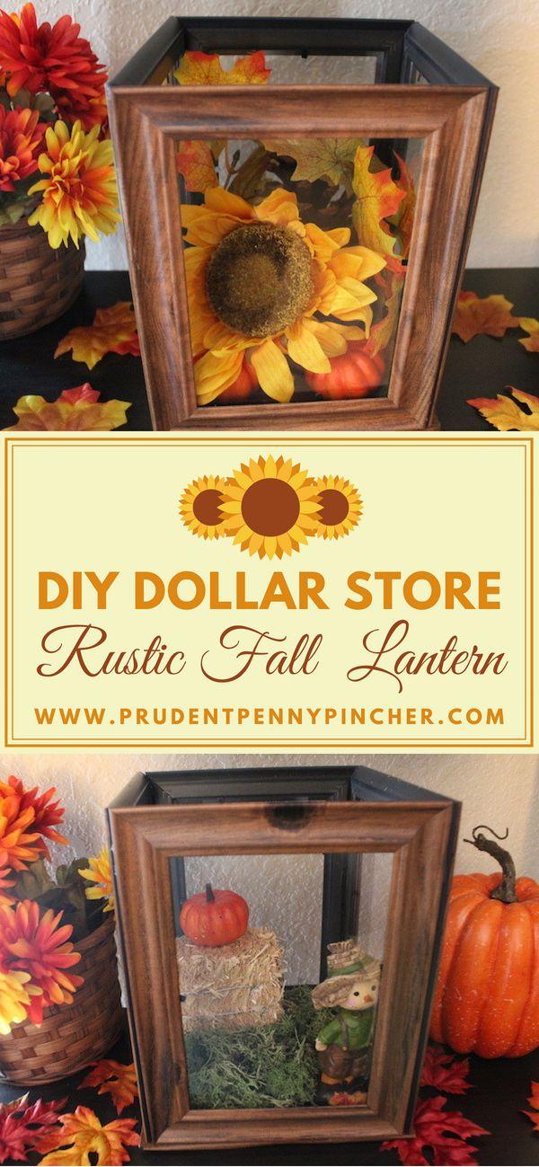DIY Dollar Store Rustic Fall Lantern #falldecorideasdiy