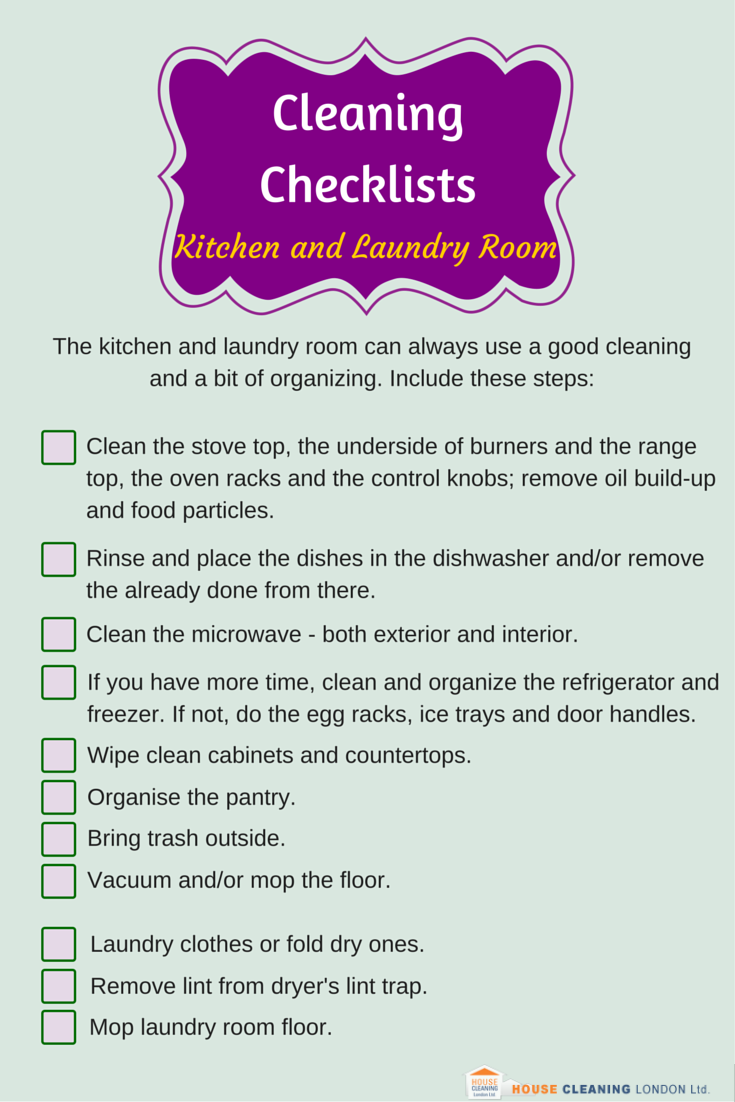 Cleaning Checklists Kitchen and Laundry Room Cleaning