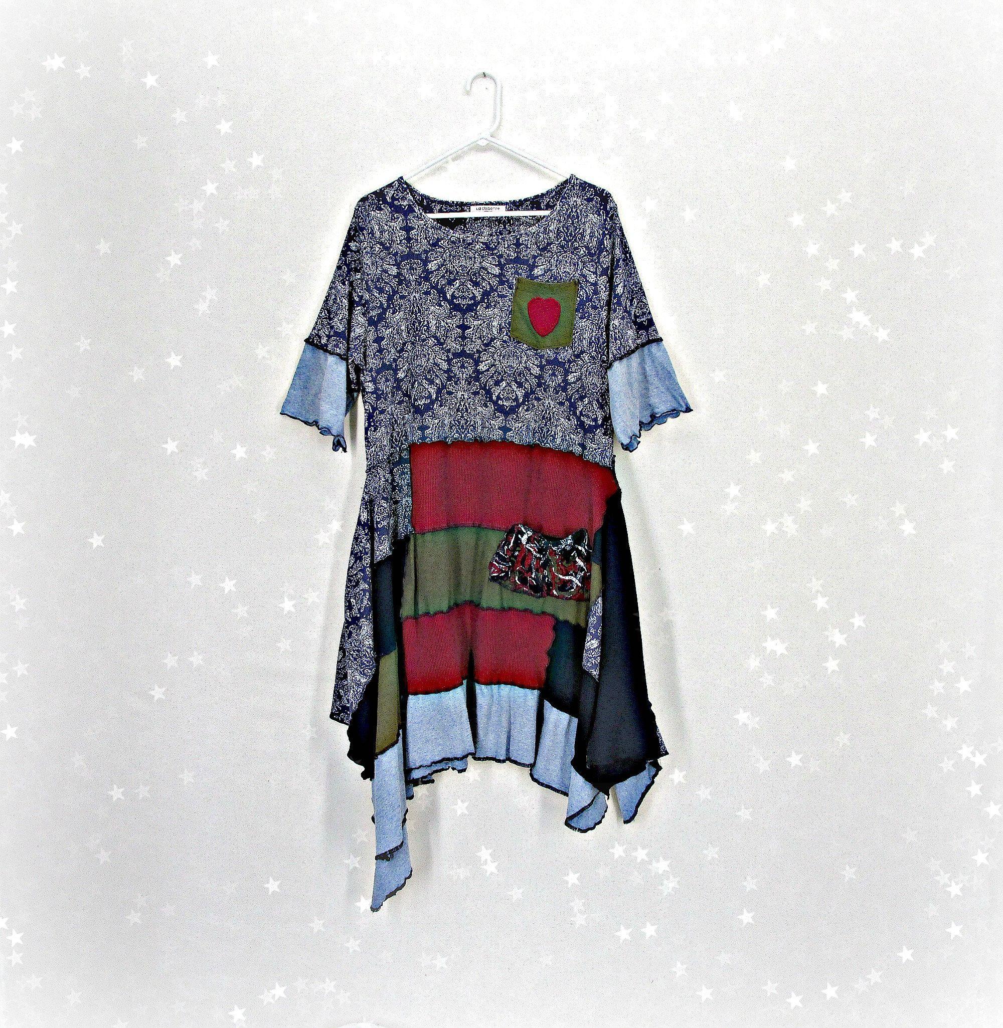 Rainbow dress tunic Upcycle tunic tops for women Upcycle tshirt dress Lagenlook clothing Bohemian dress Boho clothing plus size Hippie shirt