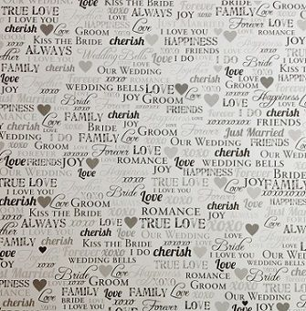 wedding words 12x12 scrapbooking paper