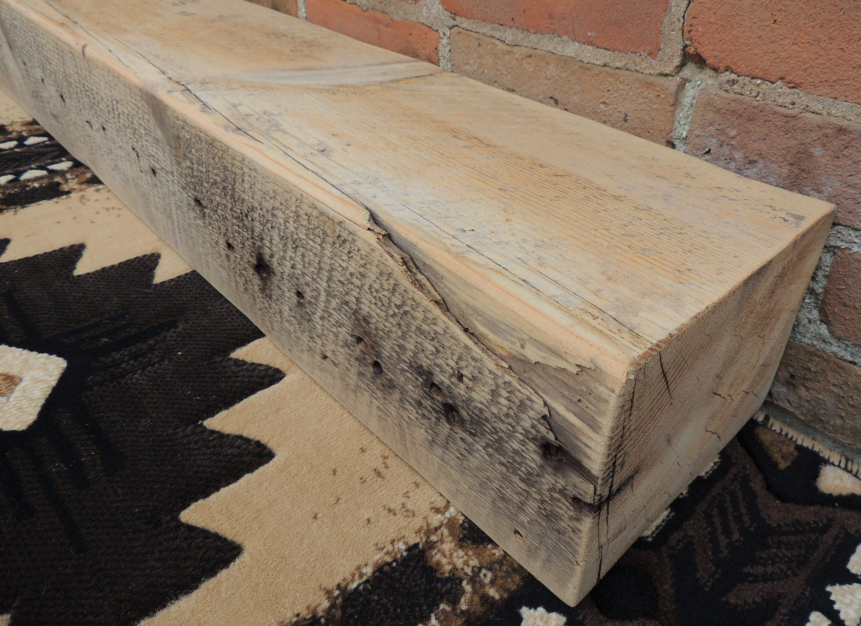 Reclaimed Wood Fireplace Mantel 64 X 8 X 6 Barn Beam Mantle Old