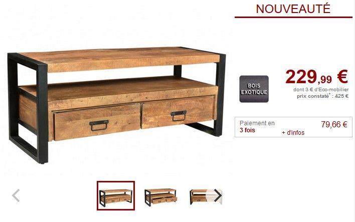 Meuble TV HARLEM 2 tiroirs et 1 niche Bois de manguier pas ...