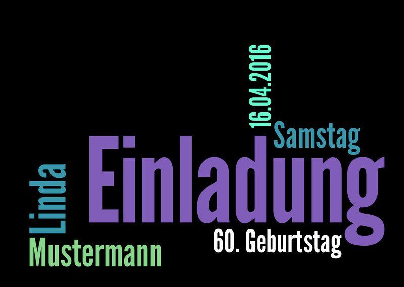 Einladungskarten Zum 60. Geburtstag Drucken Lassen Von Designkarten Auf  DaWanda.com