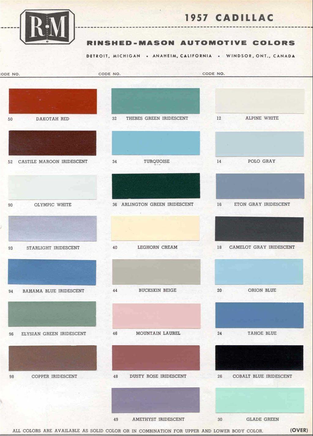 1957 Cadillac Colors Paint Pinterest Cadillac Cars And