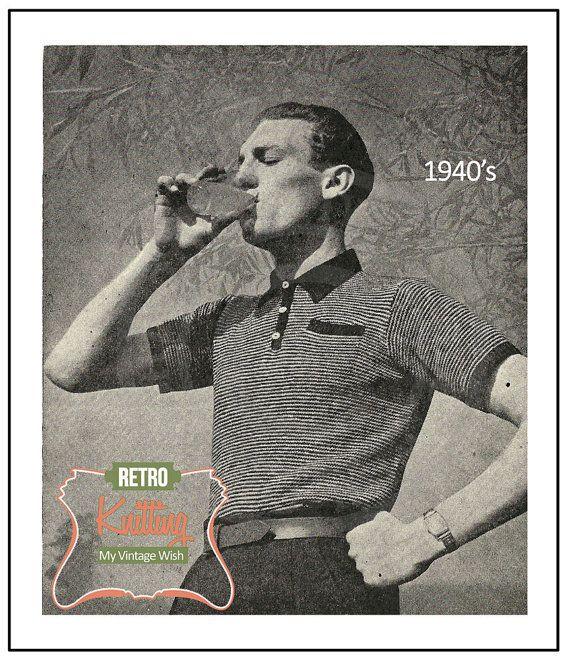 1940s Mens Polo Shirt Knitting Pattern - PDF KnittingPattern - PDF ...