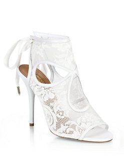 30527fc6098 Aquazzura - Sexy Thing Bridal Lace Mesh Booties