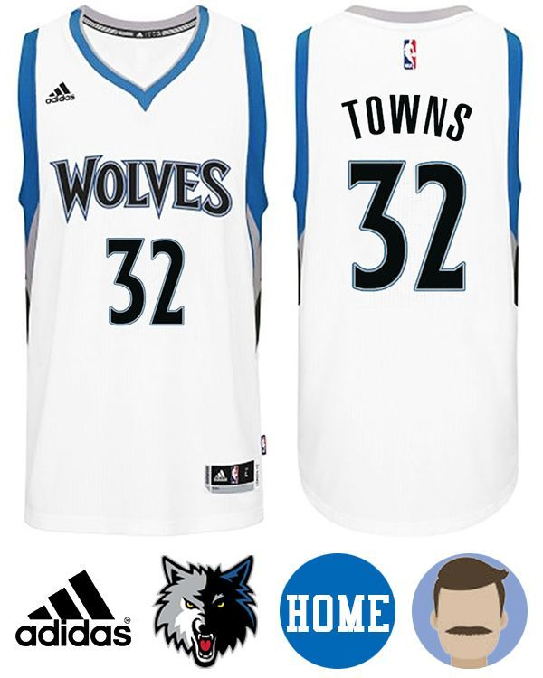 99b24894761 Sport this Men s Adidas Minnesota Timberwolves  32 Karl-Anthony Towns White  New Swingman Home Jersey while your team are heating up the stadium.