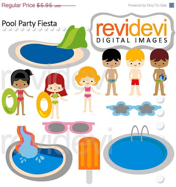 This Pool Party Clipart Set Features Boys And Girls In Swimming These Cute Images