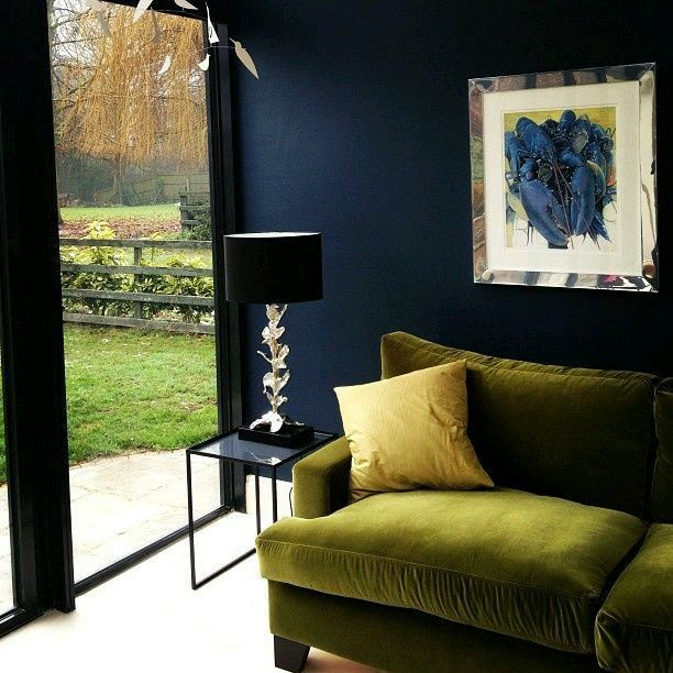 Pin By Jillyjill Jewelry On Dream House Colourful Living Room Dark Blue Walls Blue Walls