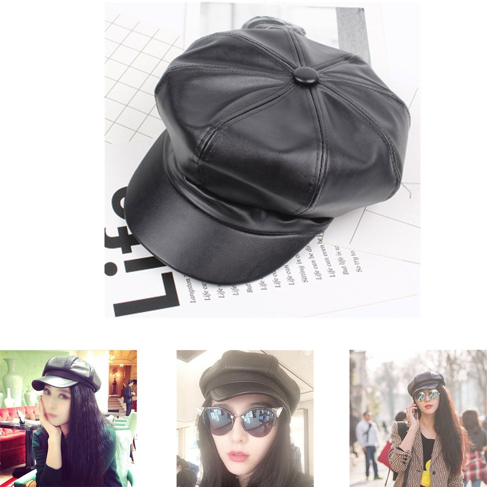 ecad63ff3e3 Womens Faux Leather Beret Beanie Skull Cap Vintage Style Military Bongrace  Hat