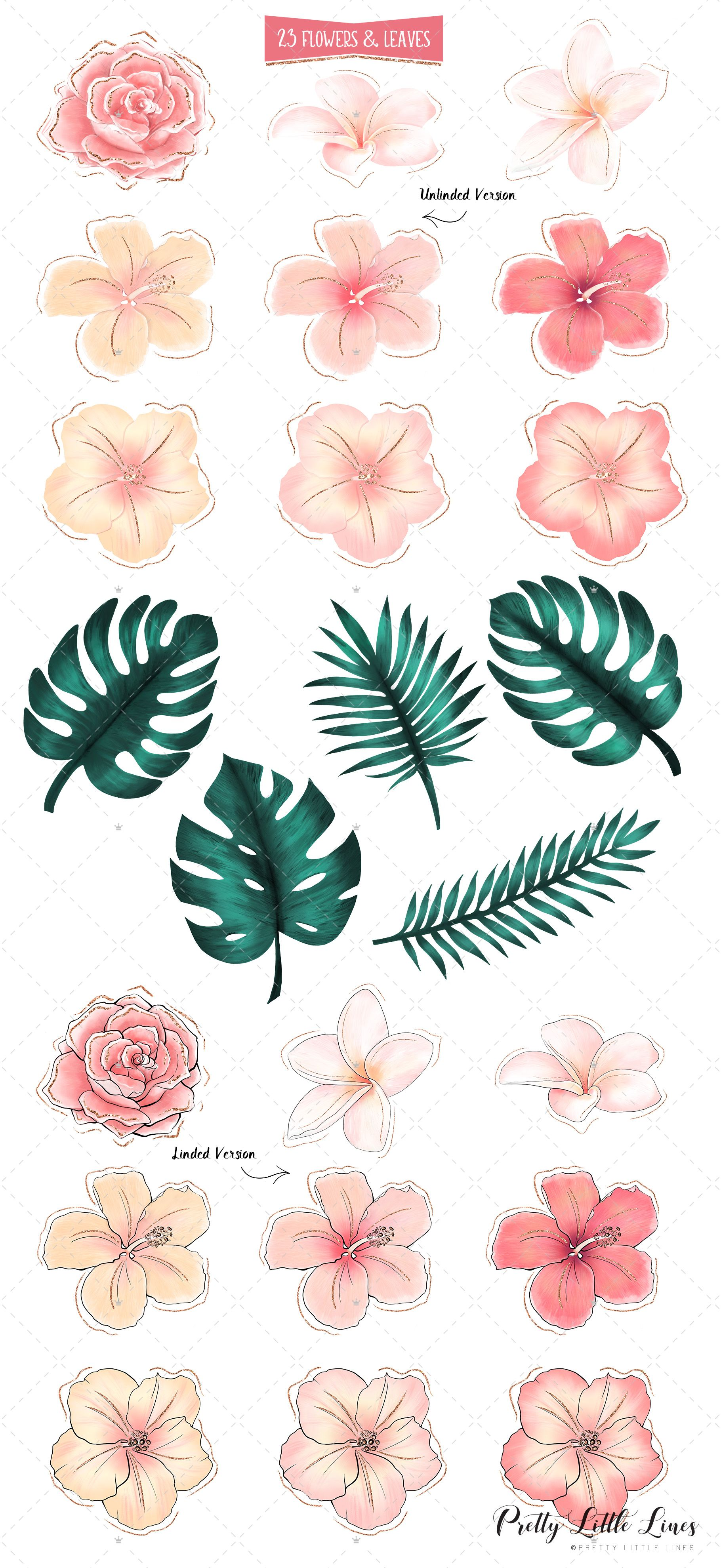 small resolution of tropical flowers and flamingos clip art by pretty little lines this fancy tropical flower and leaf clip art set is hand made with pink rose gold and