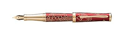 2014 Special Edition Year of the Horse Imperial Red Lacquer Fountain Pen with 18KT Gold Nib