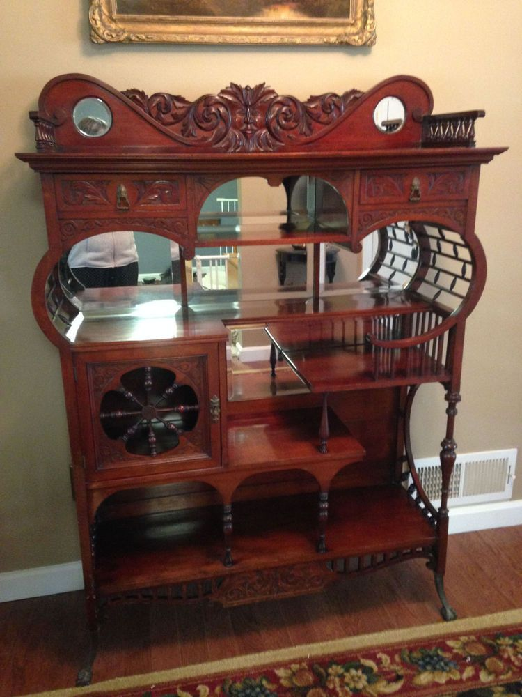 antique victorian mahogany curio cabinet etagere shelf looks like the one from gilmore girls. Black Bedroom Furniture Sets. Home Design Ideas