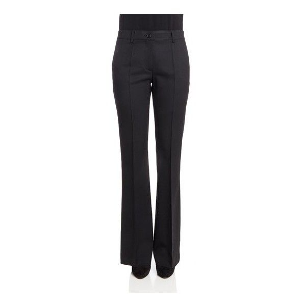 Parosh Flared Pants (£140) ❤ liked on Polyvore featuring pants, black, flared trousers, wool pants, wool trousers, flared pants and flare trousers