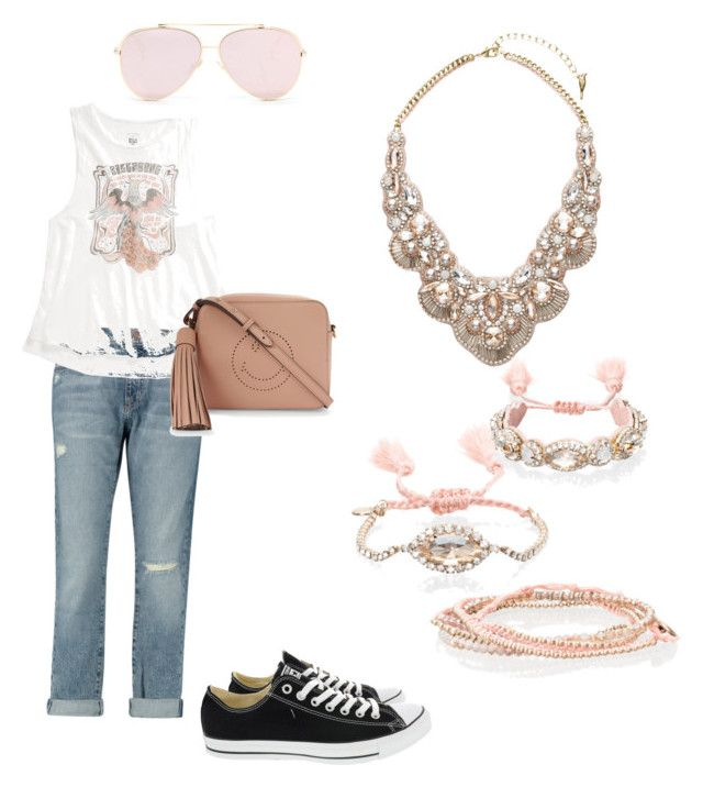 """""""Pink & Punk All Over"""" by misspenelopi on Polyvore featuring Chloe + Isabel, Current/Elliott, Billabong, Converse and Anya Hindmarch"""