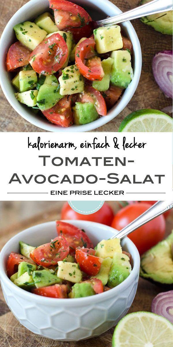 Kalorienarm, gesund, vegan. Tomaten-Avocado-Salat mit Zitrone. Einfach gemacht und perfekt für dei