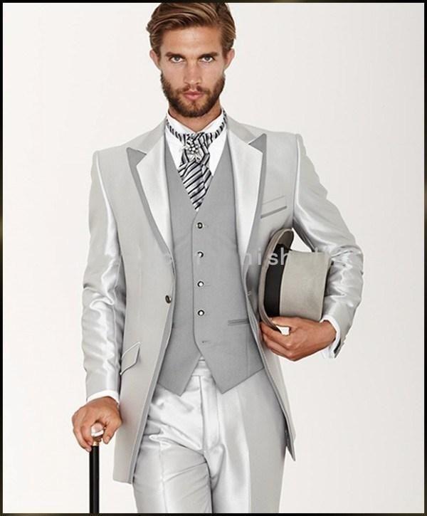 Latest Coat Pant Designs Silver Grey Satin Italian Men Suit Formal ...