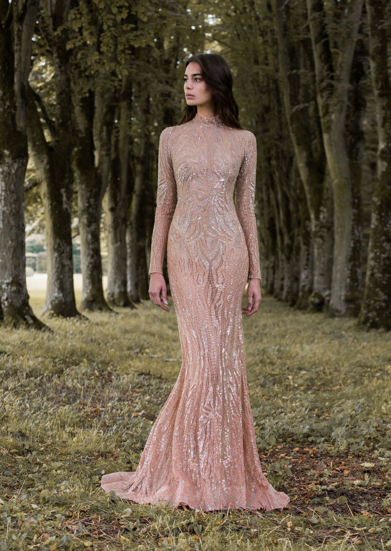 Rose gold gossamer winginspired long sleeved wedding dress by paolo