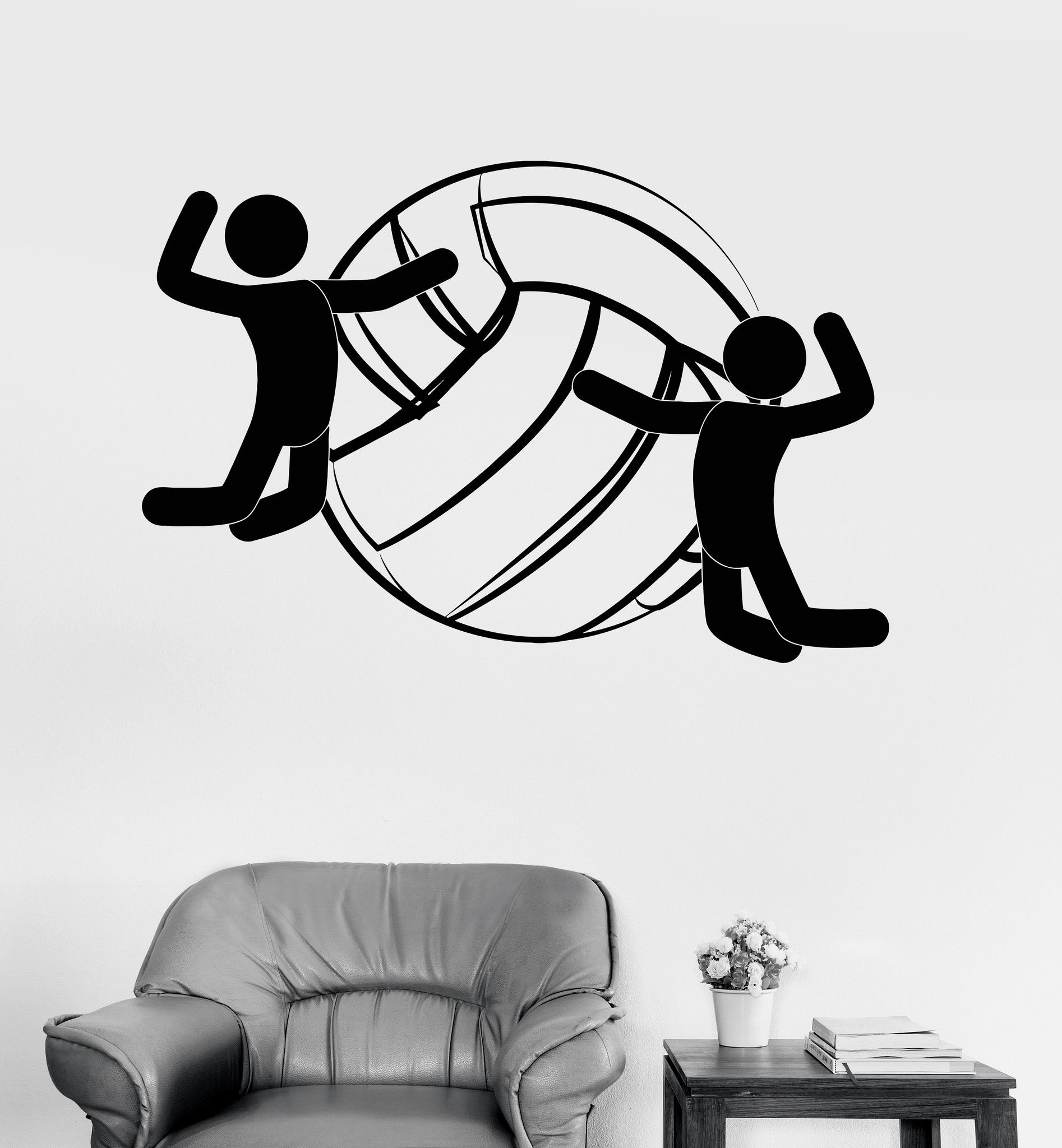 Vinyl Wall Decal Volleyball Ball Sports Player Fan Stickers Mural
