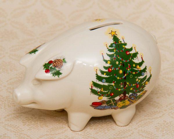 Masons Ironstone Vintage Christmas Tree Piggy Bank Pottery Money Box Pig Love Vintage Vintage Christmas Tree Money Box Piggy Bank
