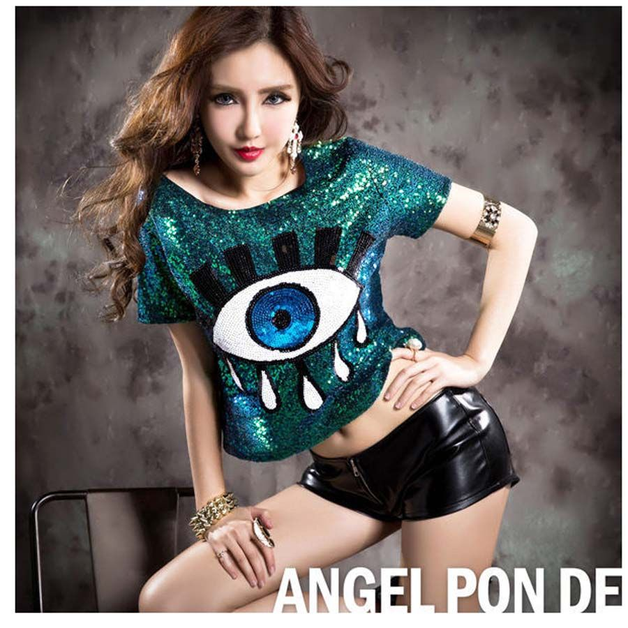Women Stage Performance Short Tops Big Eye Sequined Sexy Girl Hip Hop  clothing Slim Female Costumes