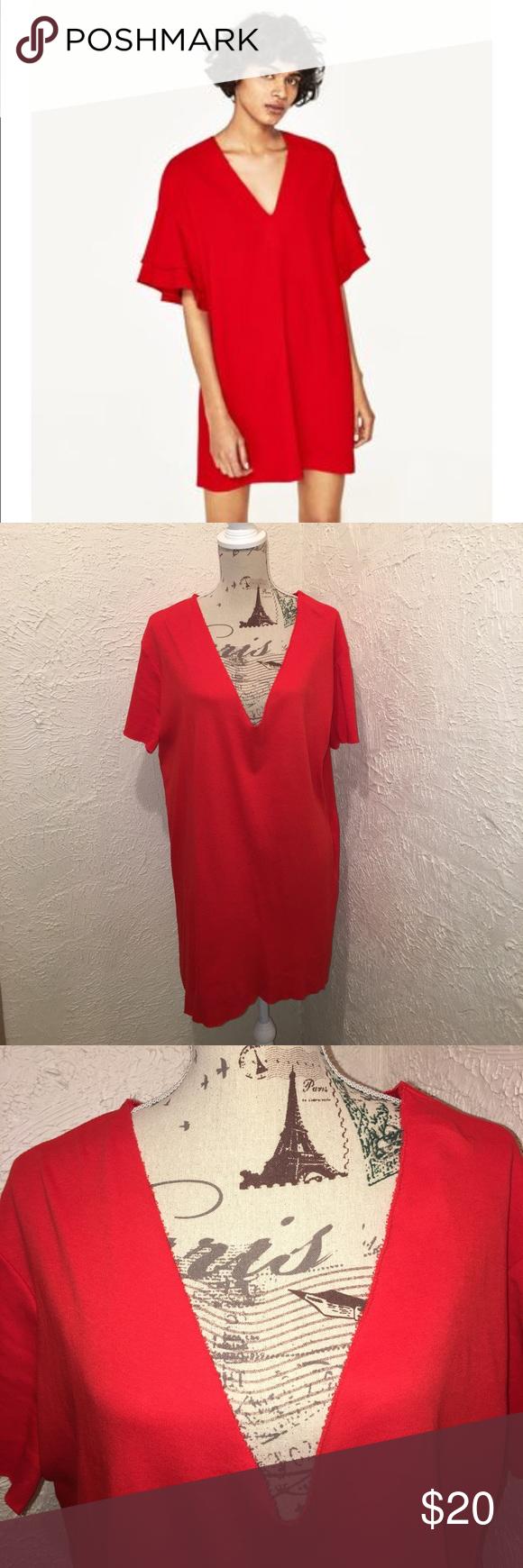 Zara red jersey dress size large