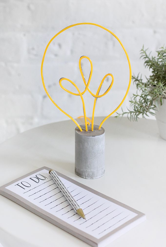 DIY EL Wire Cement Light Bulb Lamp Tutorial from I SPY DIY.Using ...