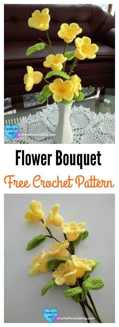 Crochet 3D Flower Bouquet Free Pattern | Handarbeiten, Blumen und Häkeln