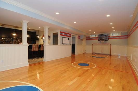 A Mini Basketball Court In Your Finished Lower Level 30 Twin Pond New Canaan Ct Offere Home Basketball Court Home Theater Setup Indoor Basketball Court