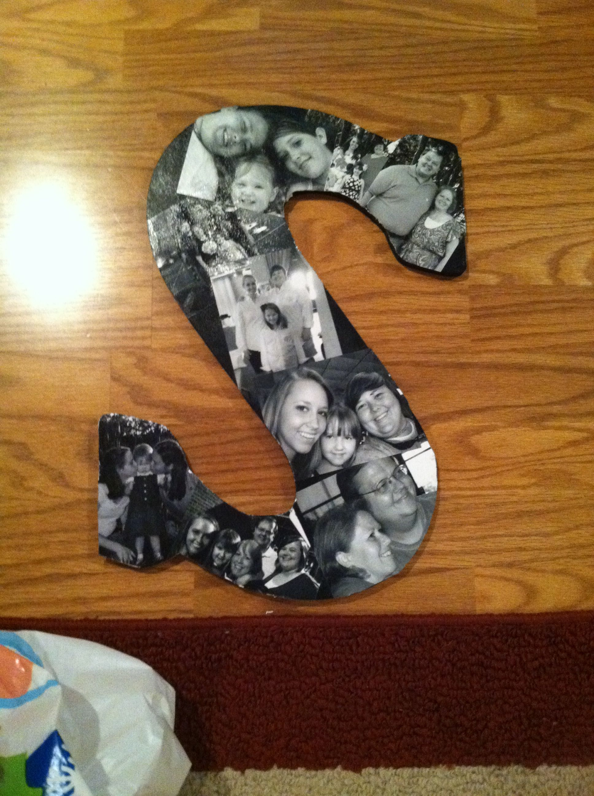 Wooden Letter With Black And White Pictures Modge Podge On Front