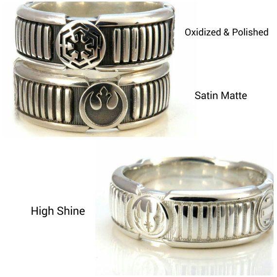 Custom Lightsaber Ring Star Wars Sci Fi Mens Sterling Silver