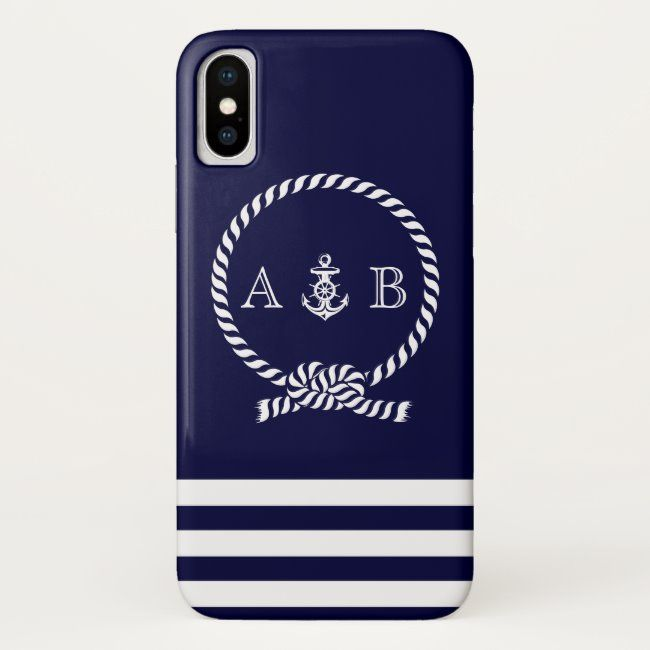 Navy Blue Nautical Rope and Anchor Monogrammed iPhone X Case