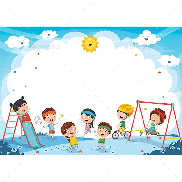Vector Illustration Of Kids Playing Kids Playing Kids Preschool Learning Kids Education