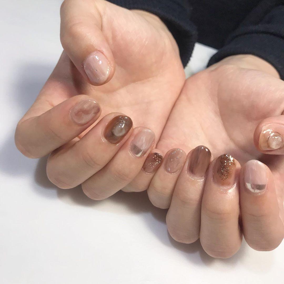 brown nuance 🍂🥀 #nail #jelnail #nailart #nailstagram#naildesigns  #네일#…