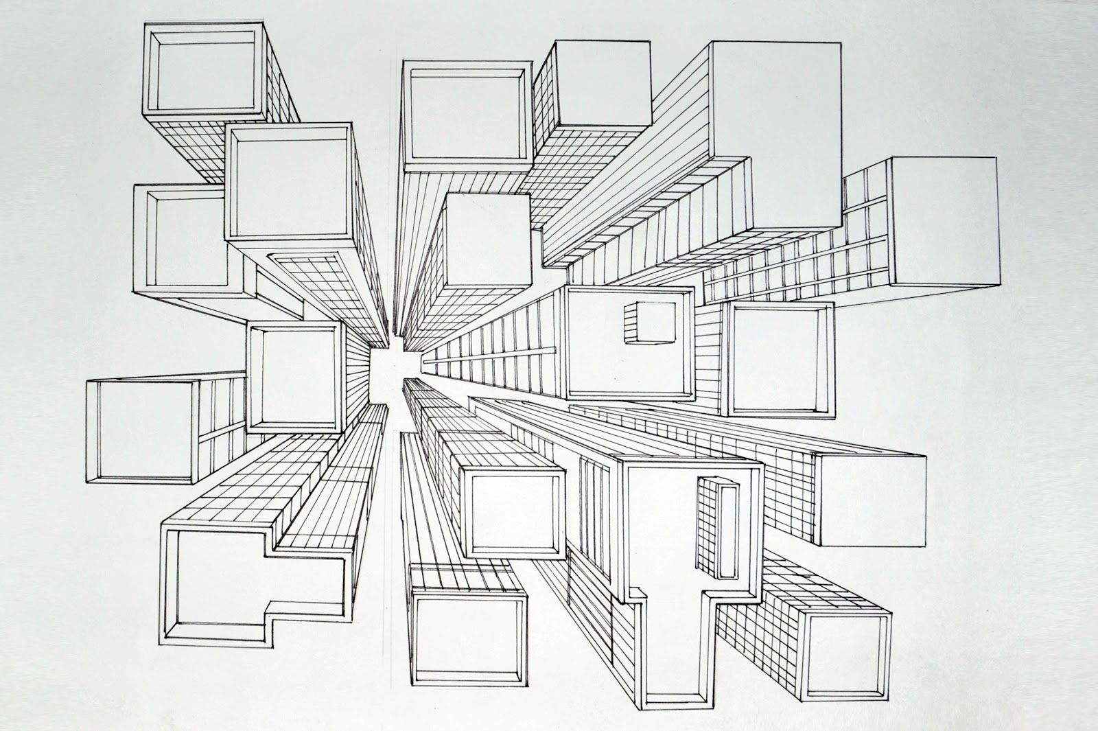 How to Draw a City using 1-Point Perspective: A Bird's Eye ... |Birds Eye View Drawings
