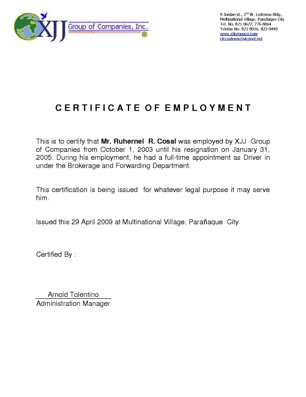 Certificate Employment Template Elsik Blue Cetane Regarding Sample Certi Employment Letter Sample Certificate Of Participation Template Certificate Templates