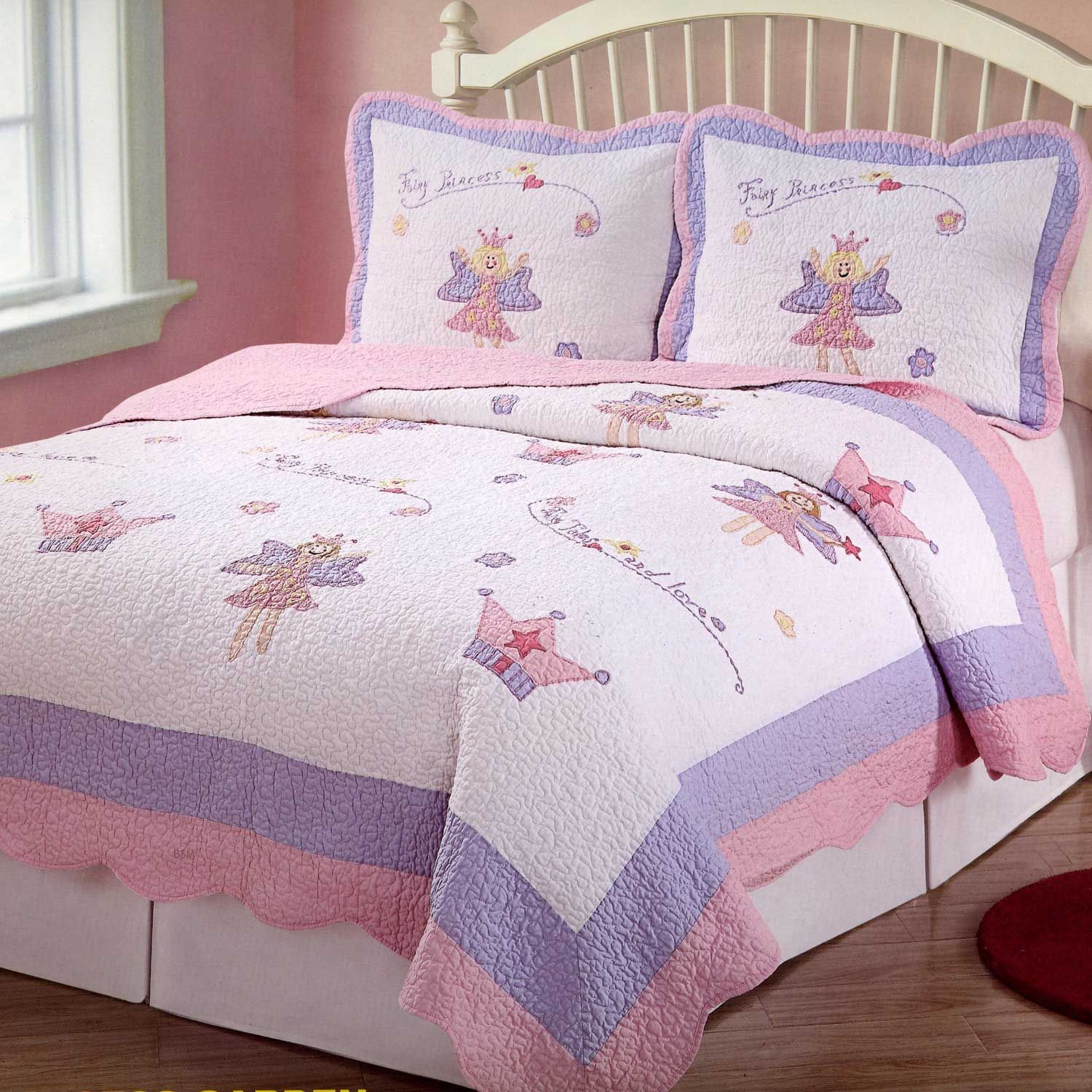 Pink Purple Fairy Princess Girls Bedding Twin Quilt Set ... : twin quilts and bedspreads - Adamdwight.com